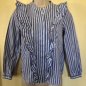 MADEWELL blue/white striped ruffled blouse/XXS